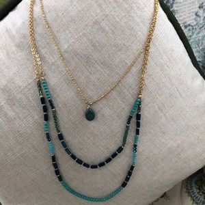 3 layered multi hued blue stone necklace NWT ✨